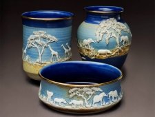 """Out of Africa"" High fired porcelain with sprigged decoration"