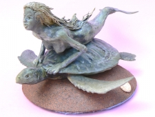 """Mermaid and Turtle"" porcelain sculpture by David Southgate"